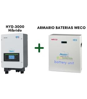 INVERSOR HÍBRIDO AZZURRO HYD3000 + BATERIA WECO (5 o 10 kWh)