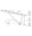 Pérgola fotovoltaica en aluminio 6082 T6 para 1 coche. Potencia de 2,37 kWp